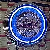 Neon Neon Orologio Clock–Coca Cola Atlanta Sign–Orologio da parete con luce blu neon Ring.