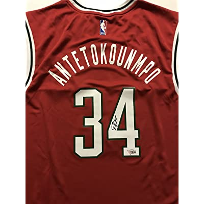 new style 2fee4 2df4d Autographed/Signed Giannis Antetokounmpo Milwaukee Bucks Red ...
