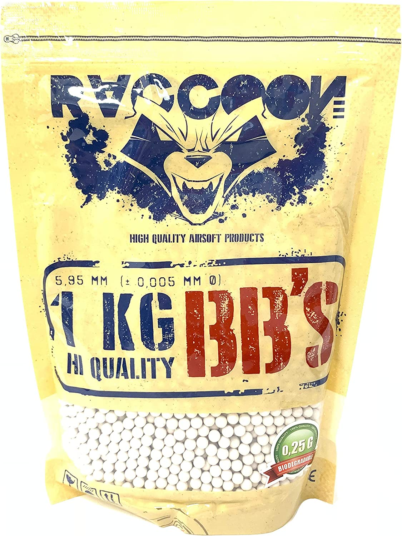 RACCOON Bolsa de 1 Kg Bio Extreme Precision Balines Biodegradables para Pistola de Bolas (1kg Unidades, 0,25 g)