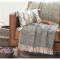 Home Touch 100% Cotton Black Diamond Throw/AC Comforter/Blanket/Mat/Sofa Cover (125cm x 150cm,Black)
