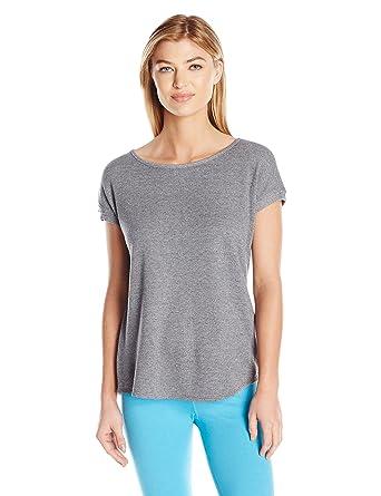 daff6995 Calvin Klein Performance Women's T Sleeve Top with Keyhole Split Back,  Black Heather, ...