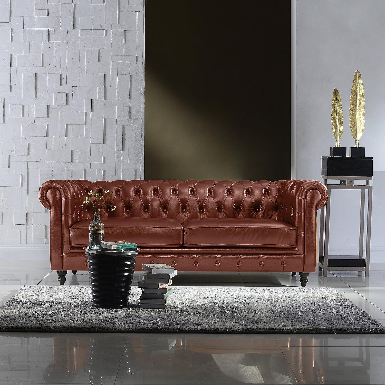 Divano Roma Furniture Classic Scroll Arm Real Italian Leather Chesterfield  Sofa (Light Brown)