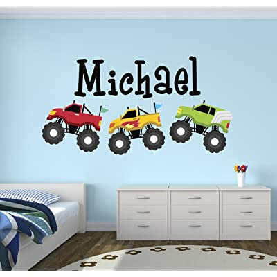 Personalized Trucks Name Wall Decal - Baby Boy Room Decor - Nursery Wall Decals - Trucks Art Vinyl Sticker: Baby