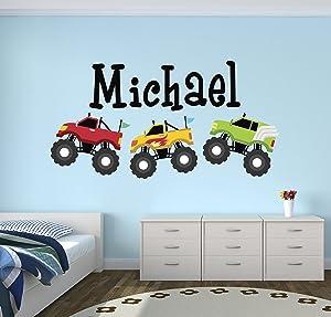 Personalized Trucks Name Wall Decal - Baby Boy Room Decor - Nursery Wall Decals - Trucks Art Vinyl Sticker