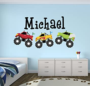 Amazon Com Personalized Trucks Name Wall Decal Baby Boy Room