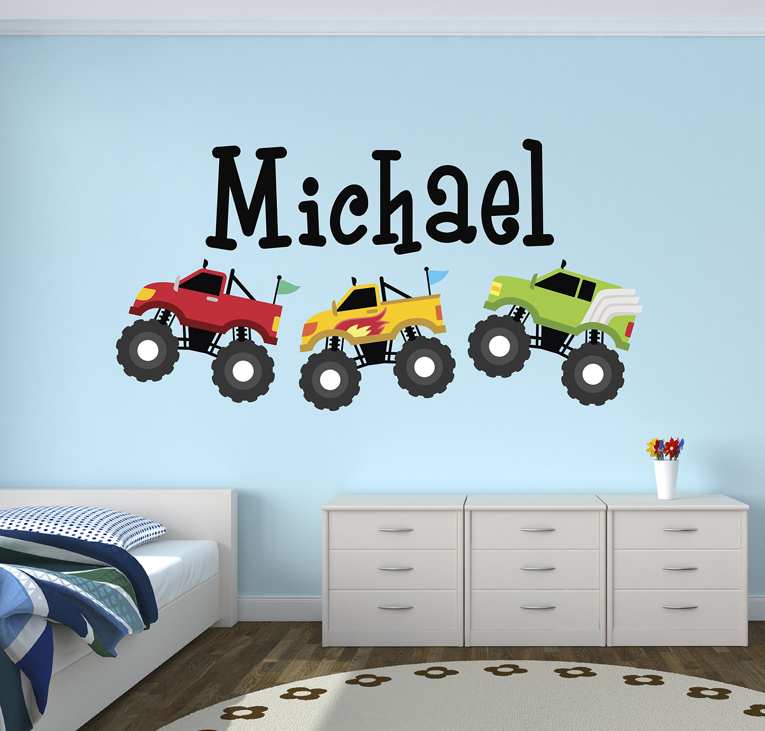 Personalized Trucks Name Wall Decal - Baby Boy Room Decor - Nursery Wall Decals - Trucks Art Vinyl Sticker
