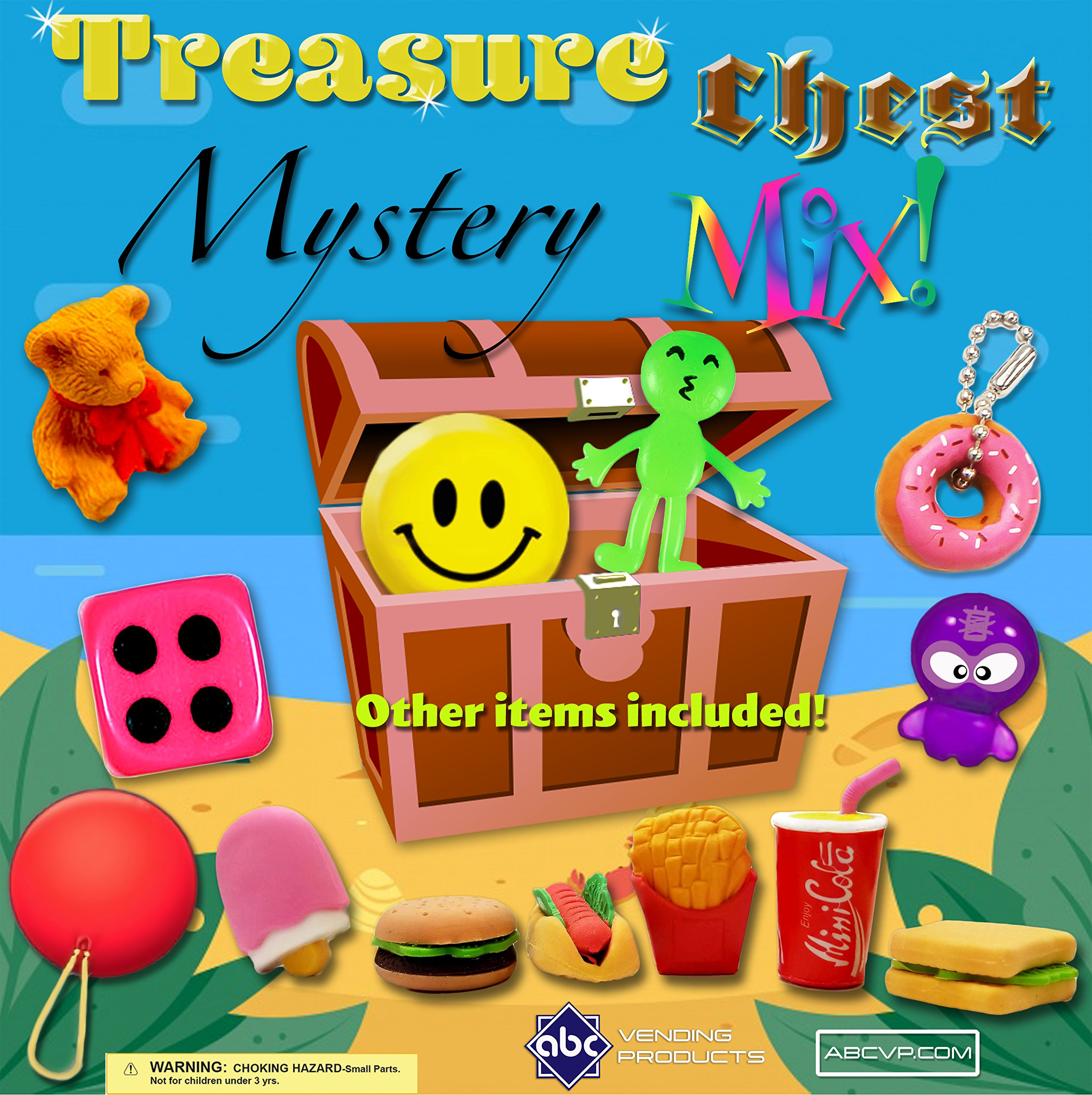 Treasure Chest MYSTERY Mix Toys in 1 Inch Vending Capsules - 250 Count, with Display by FIRST CLASS VENDING