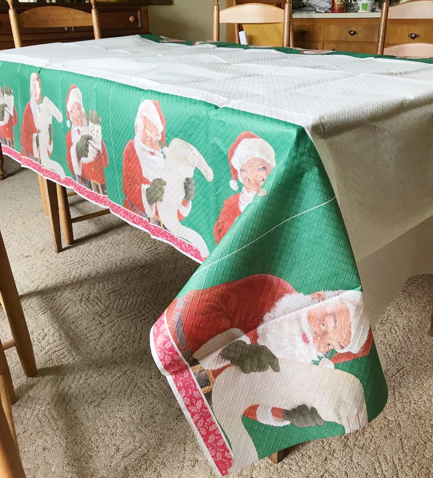 Santa Claus Christmas Party Decoration Paper Tablecover (54'' x 96'')