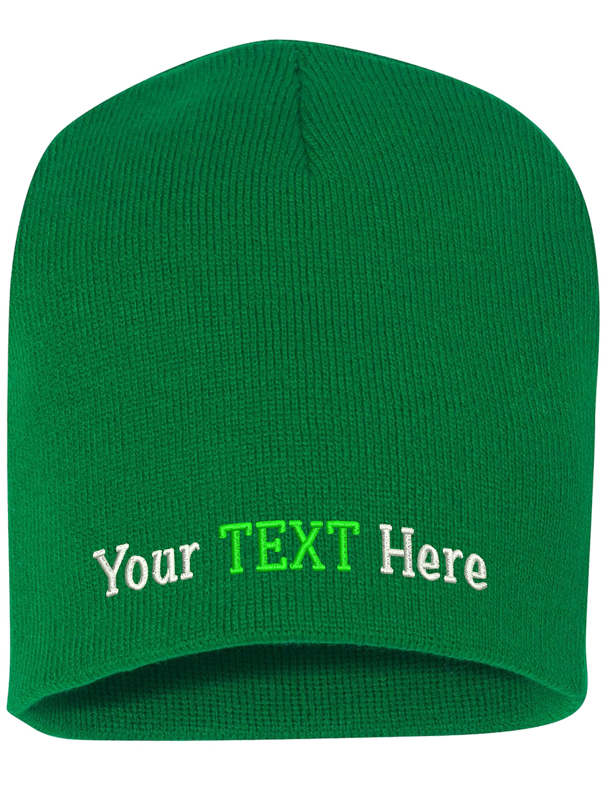 Peerless Skull Knit Hat With Custom Embroidery Your Text Here or Logo Here One Size SP08 (Kelly Knit W/Text, 12)