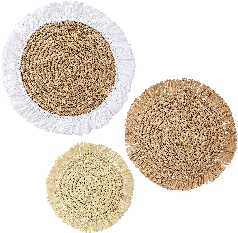 JIVANER Raffia wall baskets decor boho flat set of 3 | Woven straw grass round wall hanging wall art | Decorative bohemian chic flat basket wall decor set | Yarn paper handmade baskets in Vietnam