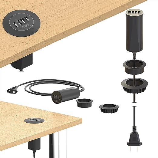 6 opinioni per URCOVER Presa Multi USB da Scrivania | USB 3.0 in Nero | Ciabatta da Tavolo 4