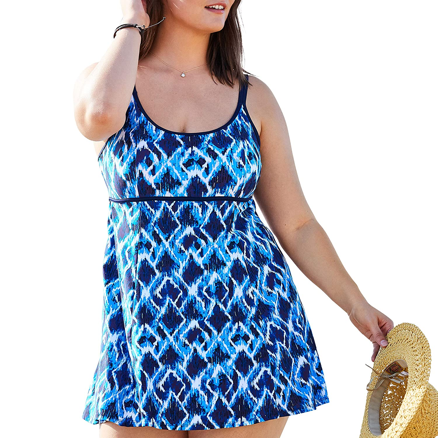 Swimsuits For All Womens Plus Size Empire-Waist Swimdress with Double Straps