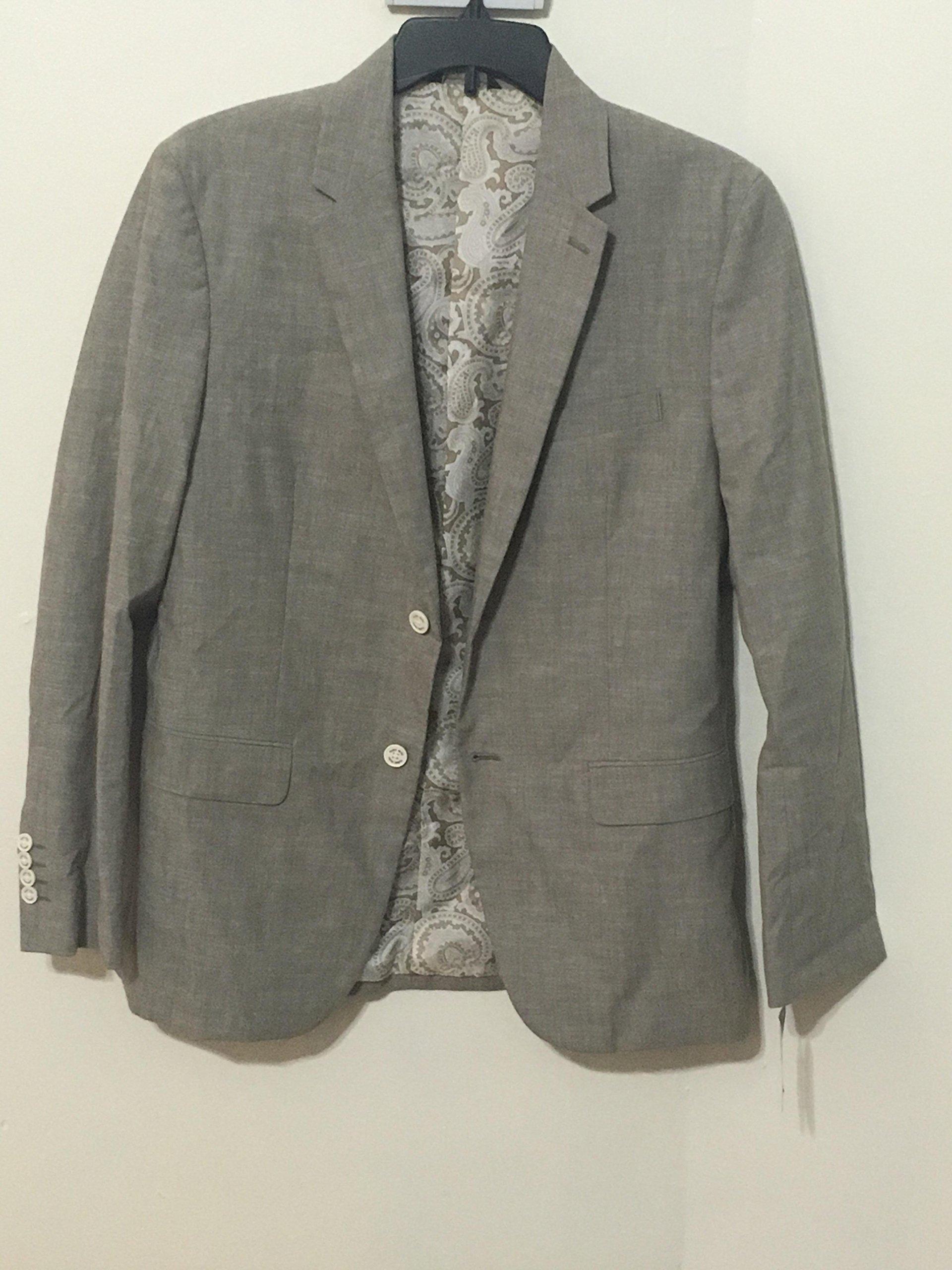 Tasso Elba Mens Chambray Blazer Sportcoat XL Taupe TAN