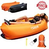ChillPill Inflatable Lounger Hammock-Comfortable Blow Up Air Lounger for Outdoor Use–Portable Lounge Chair with Side…