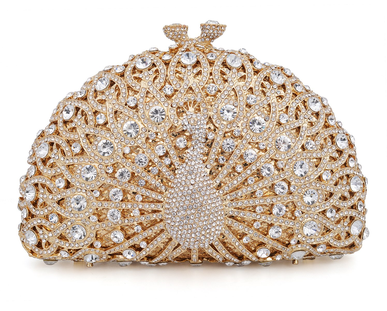 Crystal Clutch Women Gold Peacock Rhinestone Evening Bag