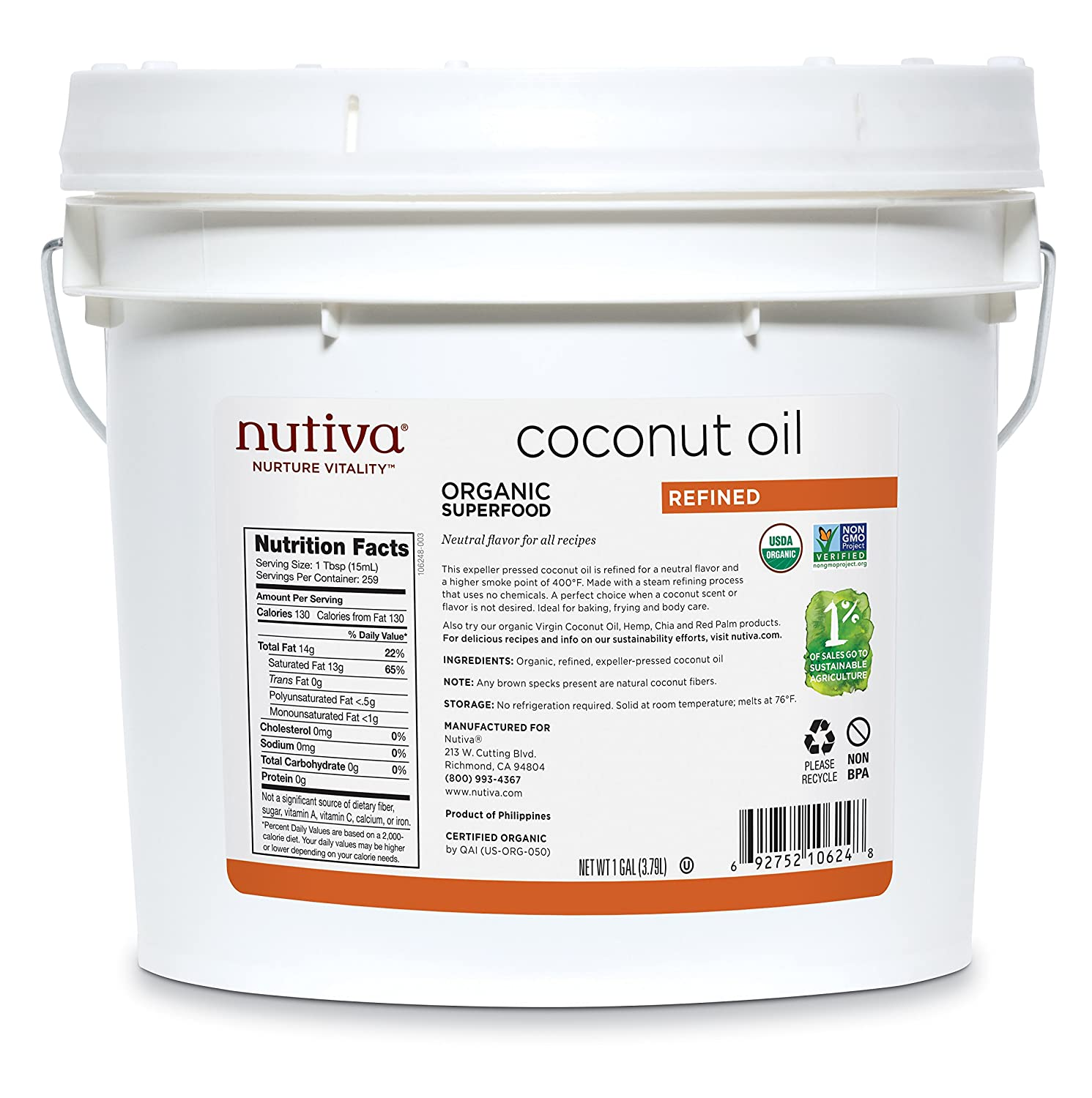 Nutiva Organic, Steam Refined Coconut Oil from non-GMO, Sustainably Farmed Coconuts, 128 Fl Oz (Pack of 1)