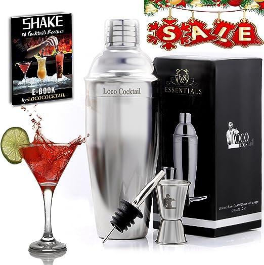Coctelera, 3 piezas – Martini camareros Kit Profesional para Drink Lovers. Premium coctelera de acero inoxidable, medidor y dosificador. E-book gratuito – Garantía de por vida.: Amazon.es: Hogar