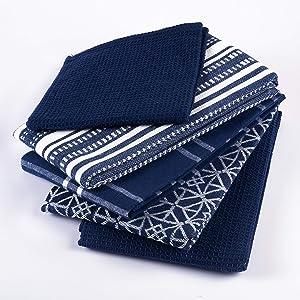 Yourtablecloth Dishtowels Set of 5 (Nautical Blue)