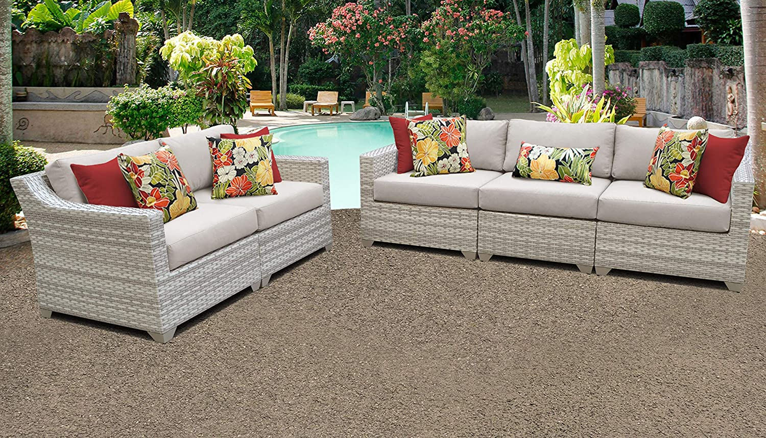 Fairmont Patio Furniture.Amazon Com Tk Classics Fairmont 05a Beige Fairmont Seating Patio