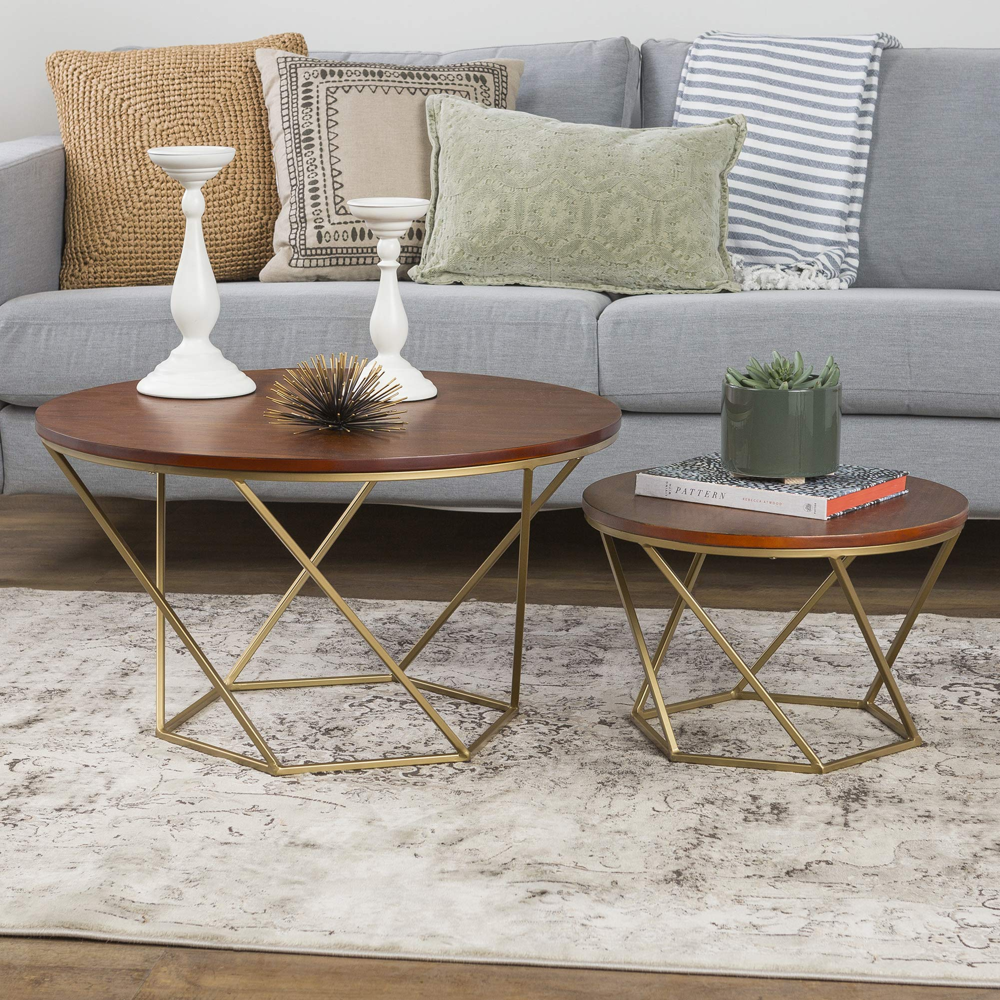 WE Furniture Modern Round Nesting Coffee Accent Table Living Room, Set of 2, Walnut/Gold by WE Furniture
