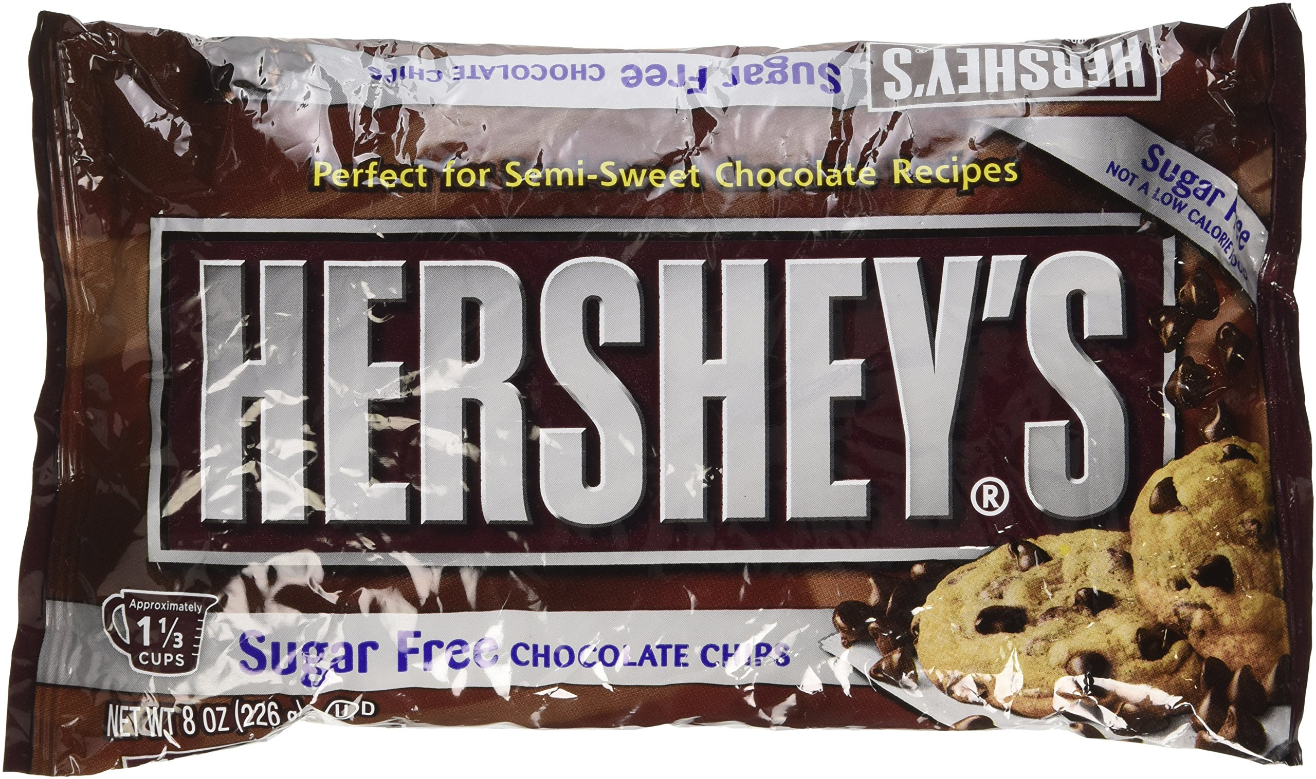 Hershey's Baking Chips Chocolate Semi Sweet Sugar Free, 8-Ounce Bags (Pack of 6)