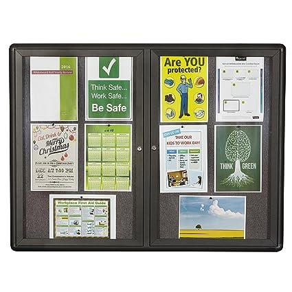 Quartet Enclosed Fabric Bulletin Board, 4 X 3 Feet, 2 Doors, Black Frame