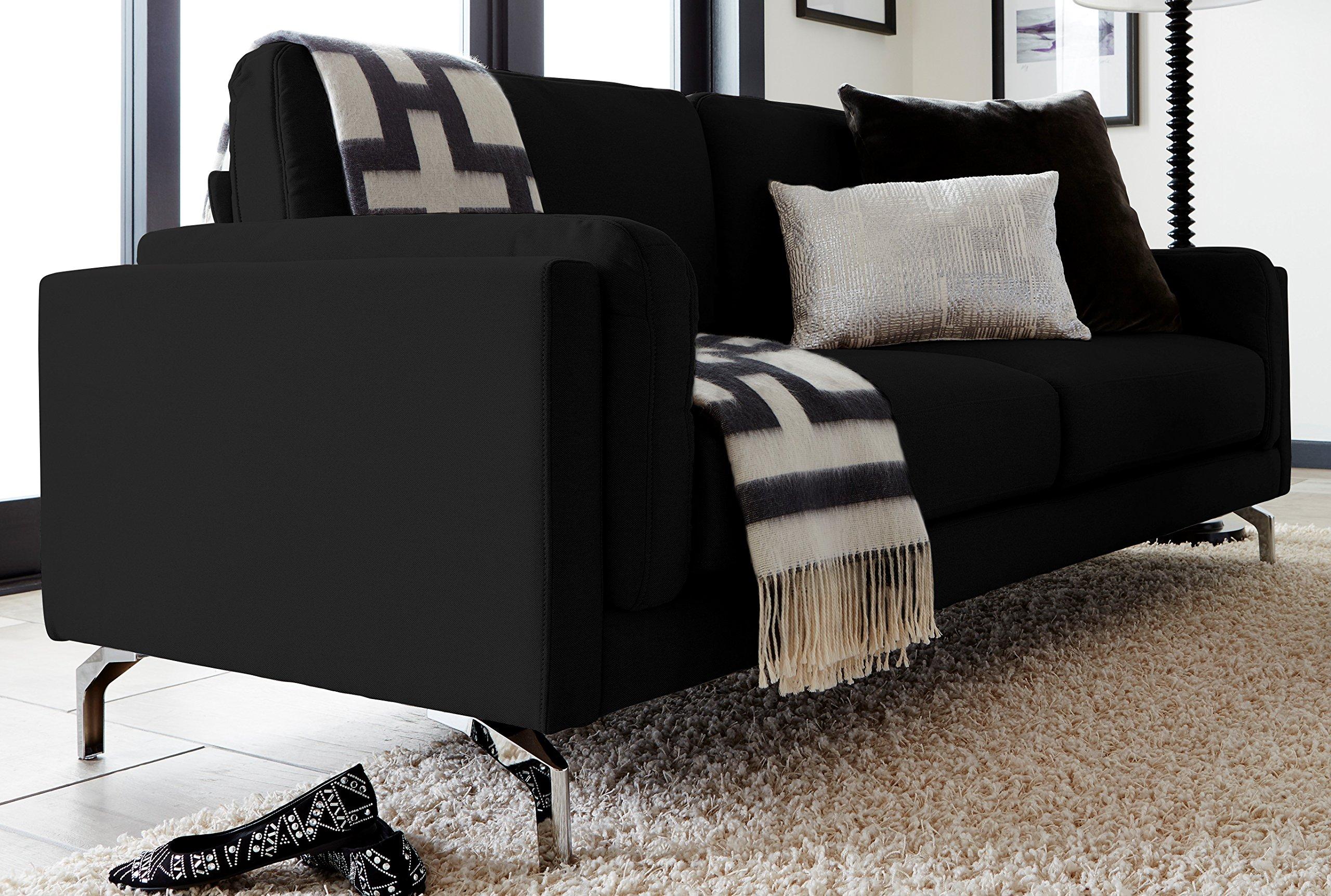 Elle Decor Remi Sofa, Fabric, Black by Elle Decor