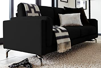 Elle Decor Remi Sofa, Fabric, Black
