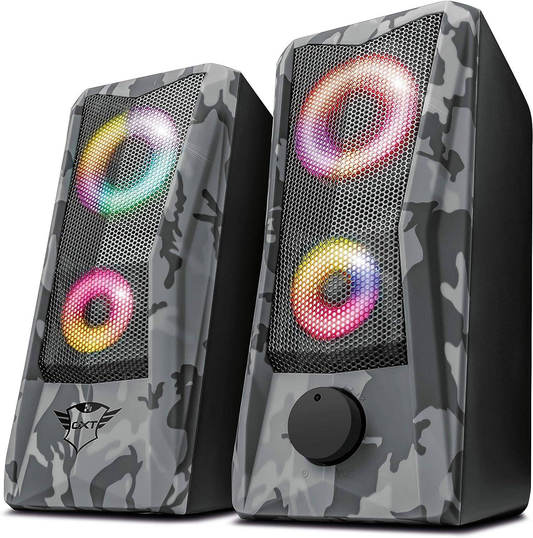 Trust GXT 606 Javv Juego de Altavoces 2.0 con iluminación RGB para PC, 12W, Color Gris