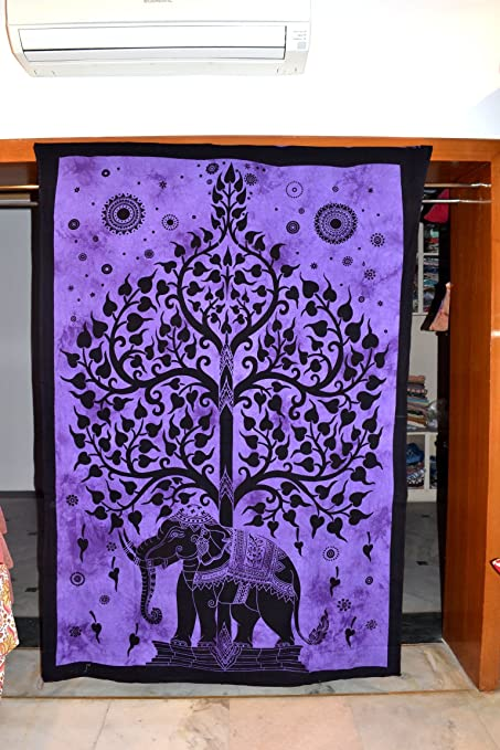 Elefante indio de algodón de árbol de la vida tapiz étnico ...
