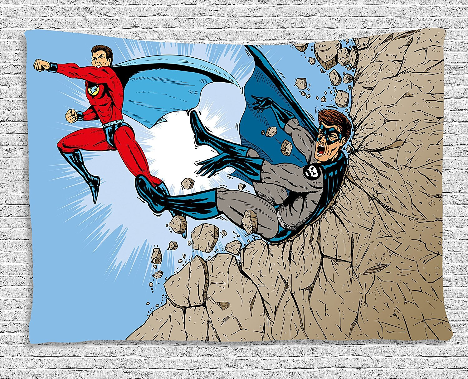 asddcdfdd Superhero Tapestry, Battle Fist Fight between Hero and Villain on the Rocks Punching Kicking Cartoon, Wall Hanging for Bedroom Living Room Dorm, 80 W X 60 L Inches, Multicolor