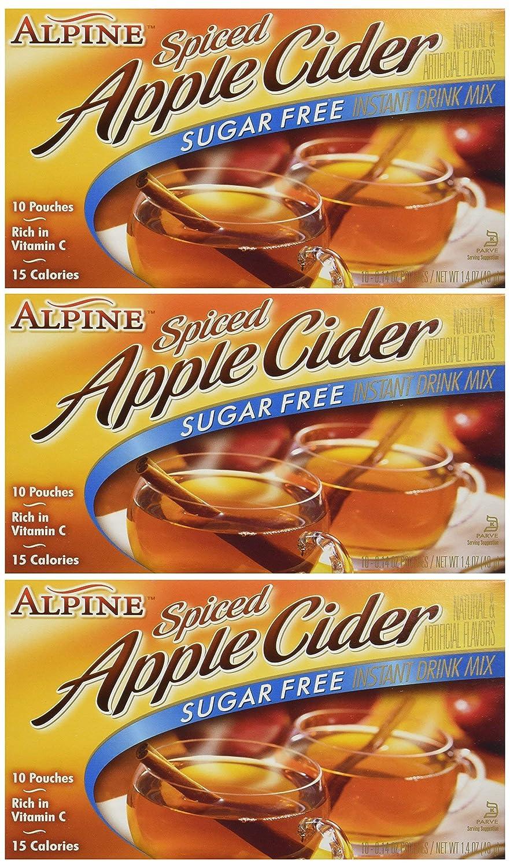 Alpine, Spiced Cider, Sugar Free Apple Flavored Drink Mix, 1.4oz Box (Pack of 6)