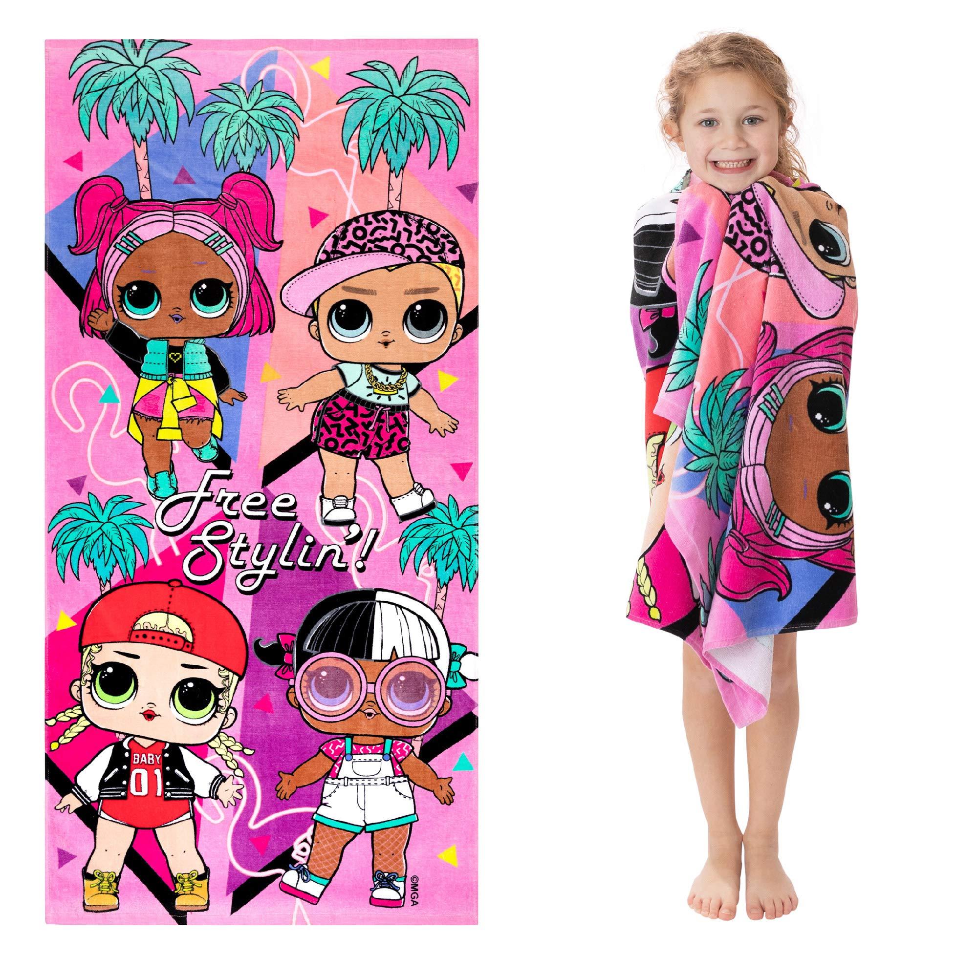 """Franco Kids Super Soft Cotton Beach Towel, 28"""" x 58"""", Lol Surprise"""