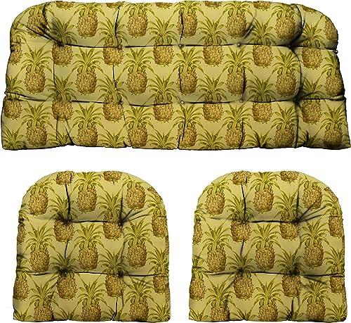 RSH D cor Indoor Outdoor Decorative Love Seat Settee Chair Wicker Cushion Sets Ocean, Lake, Coastal, Tropical Beach Standard 2-19 x19 41 x19 , Pineapple Grove Natural