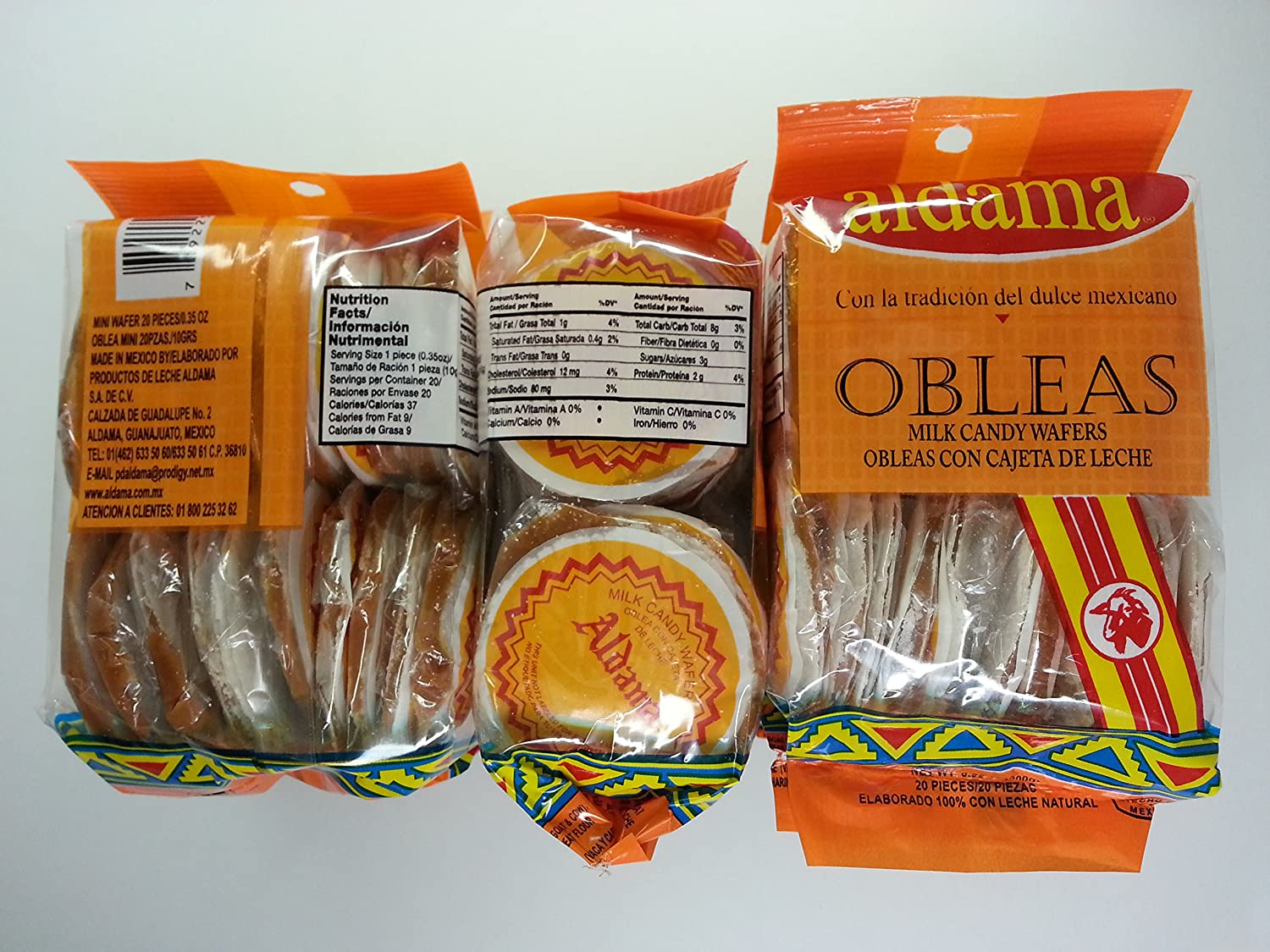 Amazon.com : Aldama Mini Obleas Con Cajeta (Milk Candy Waffles) 60 pcs : Grocery & Gourmet Food