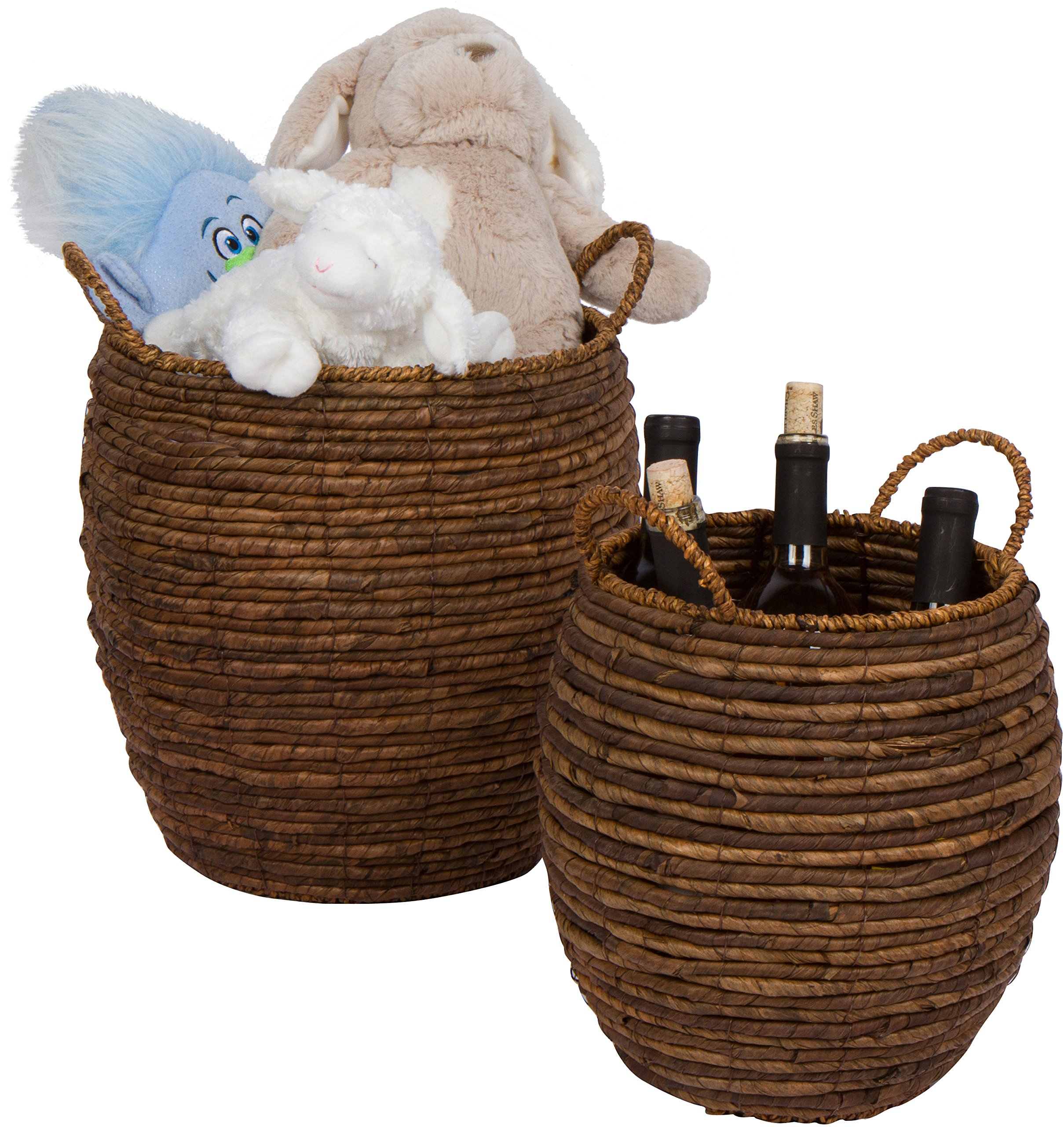 Trademark Innovations Woven Wicker Decorative Storage Baskets with Handles - Set of 2 by by Trademark Innovations