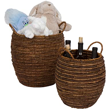 Trademark Innovations Woven Wicker Decorative Storage Baskets with Handles - Set of 2 by
