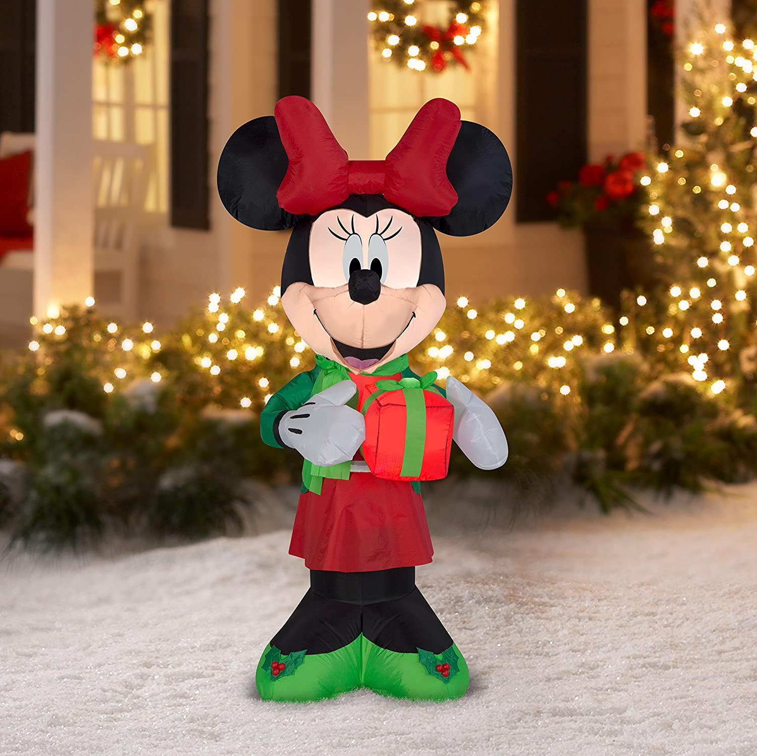 Amazoncom Airblown Christmas Inflatable Minnie W Present 5 Tall Cell