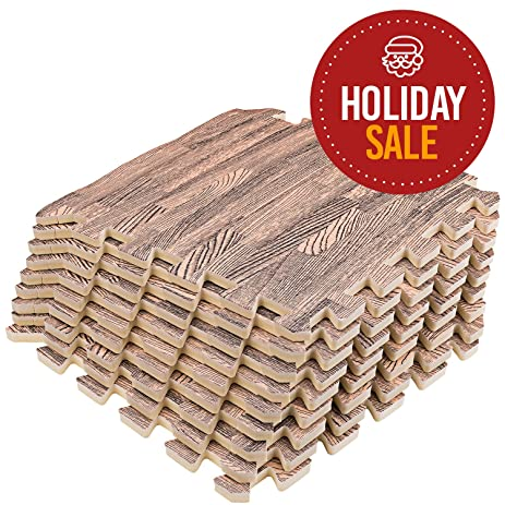 Amazon Interlocking Puzzle Wood Mat Dark Wood 9 Floor Tiles