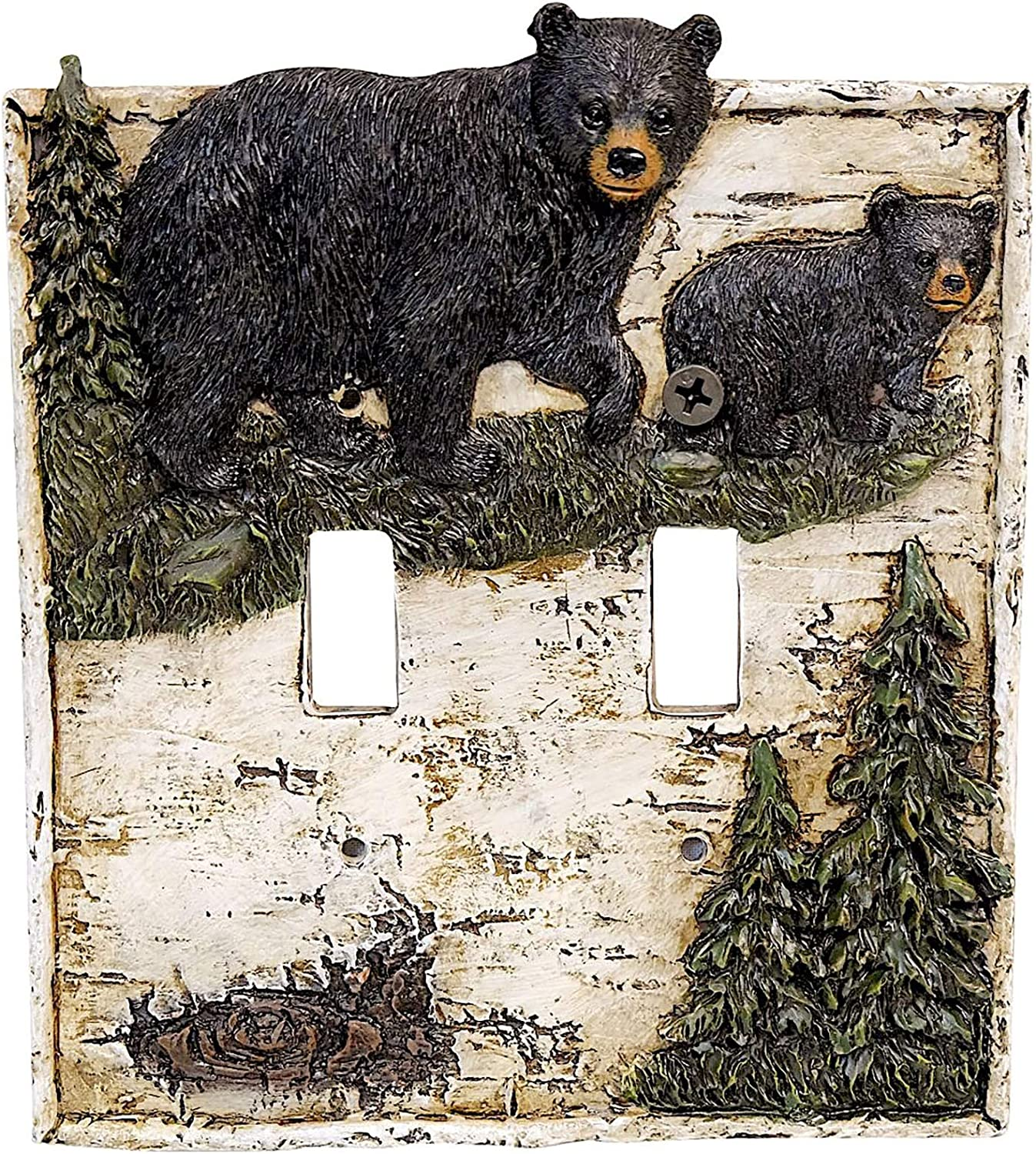 Black Bear on Birch with Pine Trees Double Switch Cover Wall Plate Cabin Lodge Home Decor