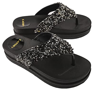 f98819c4b1b48e Irsoe Cassiey Women Flip Flop and Fashion Slippers Glitters Beautiful  Comfortable Sole Wedgesl (Black)