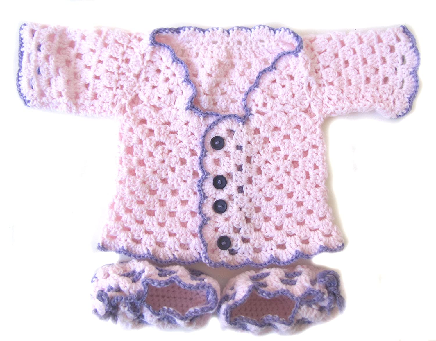 KSS Handmade Pink Cardigan and Booties 6 Months