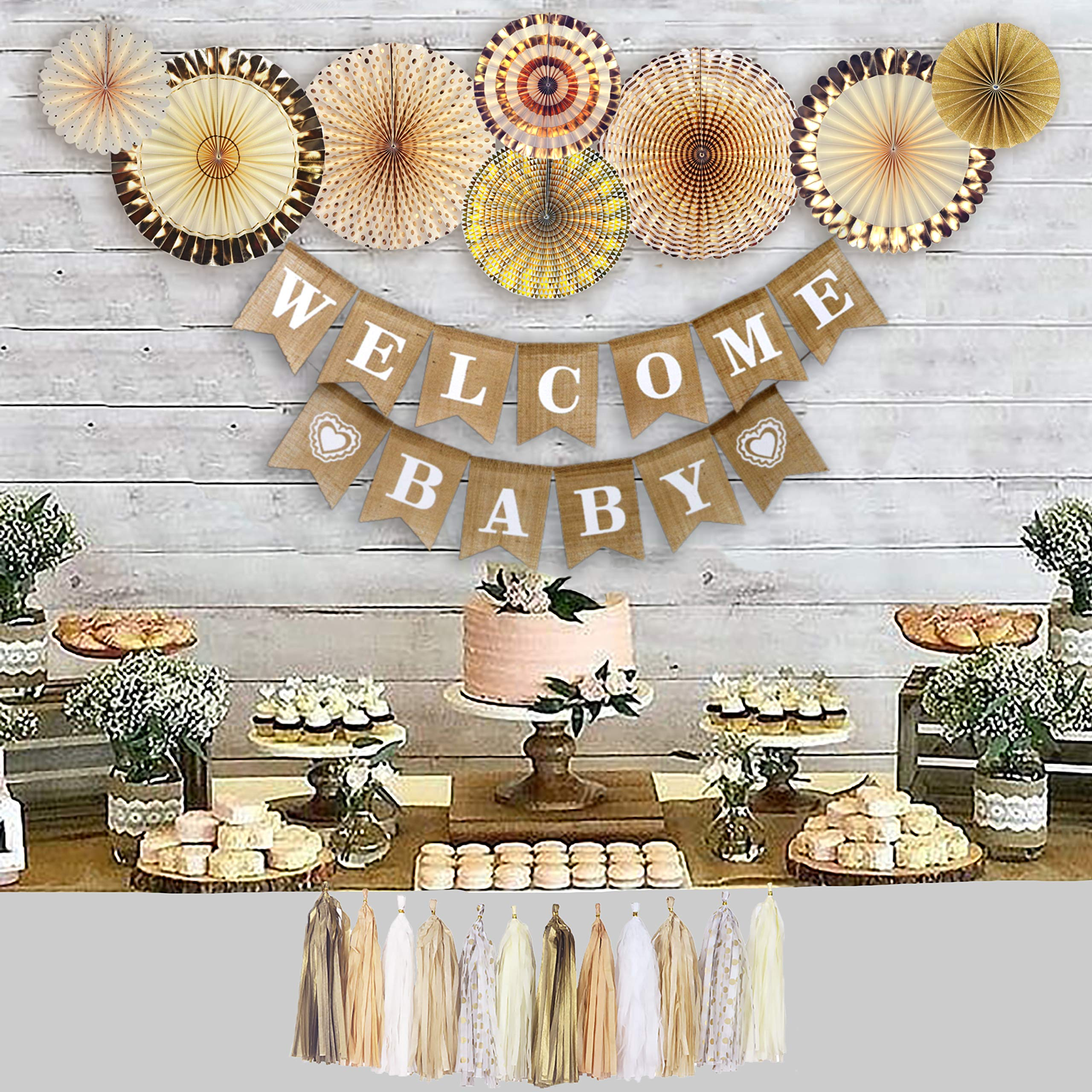 YARA Neutral Baby Shower Decorations for Boy or Girl Kit, Rustic Welcome Baby Banner in Burlap, Tassels, Gold and White Gender Reveal Baby Shower Decor Kit, Paper Fans, Party Supplies by Yara