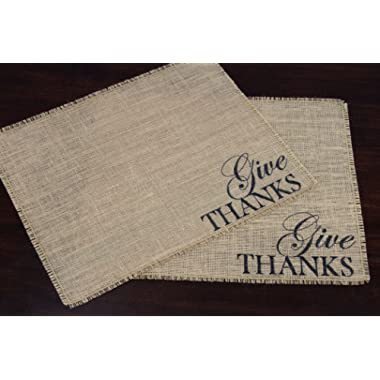 Give Thanks Burlap Placemats - set of two