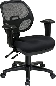 Office Star Breathable ProGrid Back and Padded Seat, Ergonomic Task Chair with Adjustable Arms, Black
