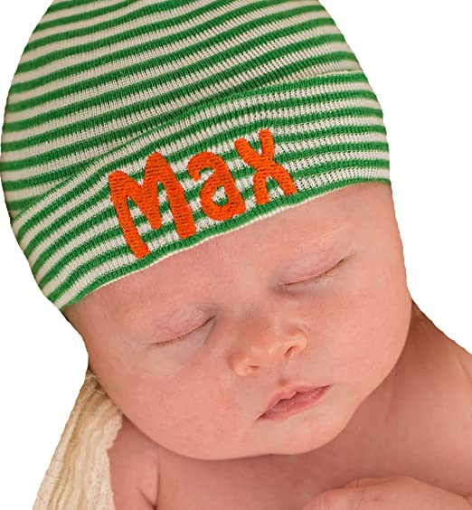 a39f2bbb6624f Image Unavailable. Image not available for. Color  Melondipity Green and  White Striped Personalized Hospital Hat for Newborn Boys