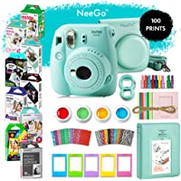 NeeGo Instax Mini 9 Instant Camera Bundle - Deluxe Kit with Camera, Matching Case & 9 Fun Film Packs-100 Exposures for Instant Creative Photos-Ice Blue
