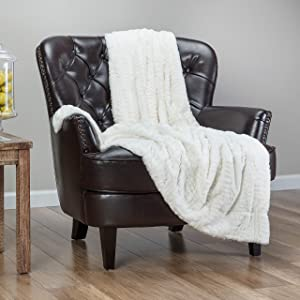 Chanasya Fuzzy Faux Feather Fur Throw Blanket - Reversible Soft Elegant Ruffle Front and Micro Mink Back Chick Blanket for Bed Couch Room (50x65 Inches) Off White
