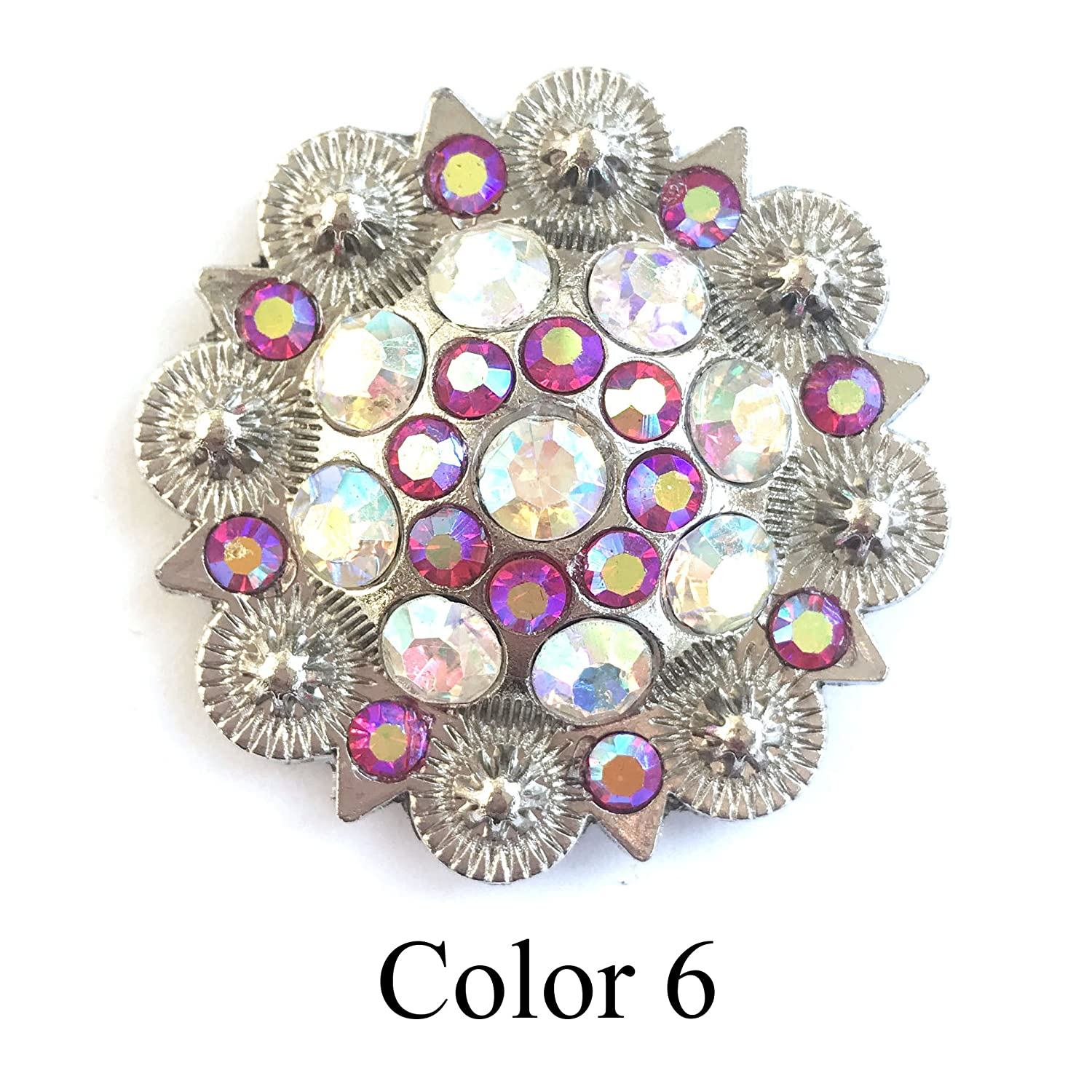 MarryAcc Berry Conchos with Screws Metal Flower Rhinestone Conchos 12 Pieces Color 11