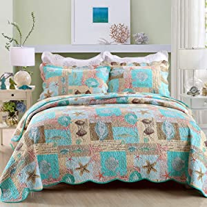 YAYIDAY Cotton Bedspreads Quilt Set Marine Theme - Breathable Bed Blanket - Floral Quilted Coverlet with Shams, Star Fish Coral Shell Print (Sea Beach King)